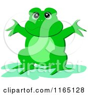 Happy Green Frog Holding His Arms Up