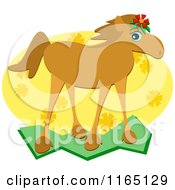 Cartoon Of A Brown Horse Wearing A Flower Royalty Free Vector Clipart by bpearth