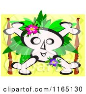 Cartoon Of A Skull And Crossbones With Foliage Over Zig Zags Royalty Free Vector Clipart by bpearth