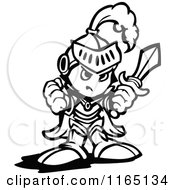Cartoon Of A Black And White Tough Knight Holding Up A Fist And A Sword Royalty Free Vector Clipart by Chromaco