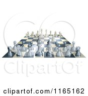 Clipart Of A 3d Chess Board With White Having Made The First Move Royalty Free Vector Illustration