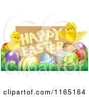 Cartoon Of A Happy Easter Sign With Chicks And Easter Eggs Royalty Free Vector Clipart