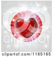 Clipart Of A Shiny Red Heart And Fireworks Over A Japanese Flag Royalty Free Vector Illustration