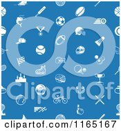 Clipart Of A Seamless Blue Sports Pattern With White Icons Royalty Free Vector Illustration by AtStockIllustration