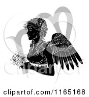 Clipart Of A Black And White Horoscope Zodiac Astrology Virgo Angel With Flowers And Symbol Royalty Free Vector Illustration