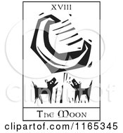 Clipart Of A Tarot Card Of The Moon Black And White Woodcut Royalty Free Vector Illustration