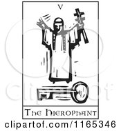 Clipart Of A Tarot Card Of The Hierophant Black And White Woodcut Royalty Free Vector Illustration