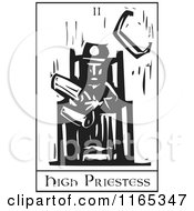 Clipart Of A Tarot Card Of The High Priestess Black And White Woodcut Royalty Free Vector Illustration