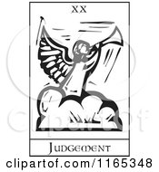 Clipart Of A Tarot Card Of Judgement Black And White Woodcut Royalty Free Vector Illustration by xunantunich