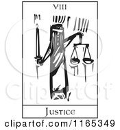 Clipart Of A Tarot Card Of Justice Black And White Woodcut Royalty Free Vector Illustration by xunantunich