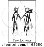 Clipart Of A Tarot Card Of The Lovers Black And White Woodcut Royalty Free Vector Illustration by xunantunich