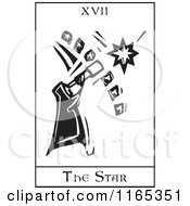Clipart Of A Tarot Card Of The Star Black And White Woodcut Royalty Free Vector Illustration by xunantunich