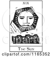 Clipart Of A Tarot Card Of The Sun Black And White Woodcut Royalty Free Vector Illustration by xunantunich