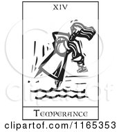 Clipart Of A Tarot Card Of Temperance Black And White Woodcut Royalty Free Vector Illustration