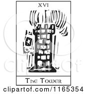 Tarot Card Of The Tower Black And White Woodcut