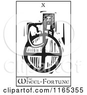 Clipart Of A Tarot Card Of The Wheel Of Fortune Black And White Woodcut Royalty Free Vector Illustration