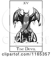 Clipart Of A Tarot Card Of The Devil Black And White Woodcut Royalty Free Vector Illustration