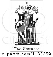 Tarot Card Of The Empress Black And White Woodcut