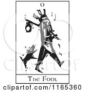 Clipart Of A Tarot Card Of The Fool Black And White Woodcut Royalty Free Vector Illustration