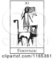 Clipart Of A Tarot Card Of Fortitude Black And White Woodcut Royalty Free Vector Illustration