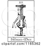 Clipart Of A Tarot Card Of The Hanged Man Black And White Woodcut Royalty Free Vector Illustration