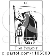Clipart Of A Tarot Card Of The Hermit Black And White Woodcut Royalty Free Vector Illustration
