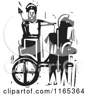 Clipart Of A Prince In A Chariot Black And White Woodcut Royalty Free Vector Illustration