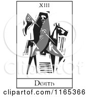Clipart Of A Tarot Card Of Reaping Skeleton Horseman Death Black And White Woodcut Royalty Free Vector Illustration
