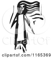 Clipart Of A Lone Girl Black And White Woodcut Royalty Free Vector Illustration