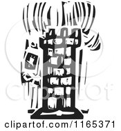Clipart Of A Burning Tower Black And White Woodcut Royalty Free Vector Illustration