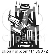 Clipart Of A Man In A Turban Reading A Scroll Black And White Woodcut Royalty Free Vector Illustration
