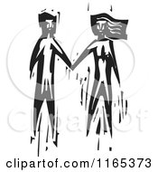 Clipart Of A Couple Holding Hands Black And White Woodcut Royalty Free Vector Illustration