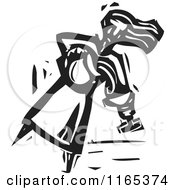 Clipart Of A Water Carrier Pouring Into A Chalice Black And White Woodcut Royalty Free Vector Illustration