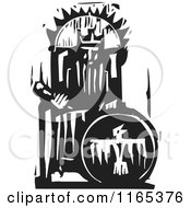 Clipart Of An Emperor On His Throne Black And White Woodcut Royalty Free Vector Illustration