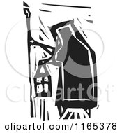 Clipart Of A Hermit Black And White Woodcut Royalty Free Vector Illustration