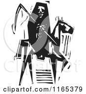 Clipart Of A Reaping Skeleton Horseman Death Black And White Woodcut Royalty Free Vector Illustration