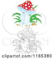 Cartoon Of A Friendly Mushroom In Color And Black And White Royalty Free Vector Clipart