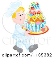 Cartoon Of A Happy Blond Male Chef Carrying A Decorative Cake Royalty Free Vector Clipart