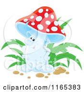 Cartoon Of A Friendly Red And White Mushroom Royalty Free Vector Clipart by Alex Bannykh