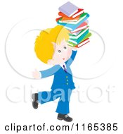 Cartoon Of A Happy Private School Boy Carrying A Stack Of Books Royalty Free Vector Clipart