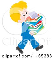 Cartoon Of A Private School Boy Carrying A Stack Of Books Royalty Free Vector Clipart