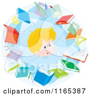 Cartoon Of A Blond School Boy In An Atom Of Books Royalty Free Vector Clipart