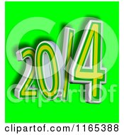 Clipart Of A 3d Brazilian Colored Year 2014 Over Green Royalty Free CGI Illustration by MacX