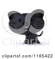Clipart Of A 3d Black Kitten Royalty Free CGI Illustration
