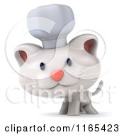 Clipart Of A 3d White Kitten Chef Royalty Free CGI Illustration