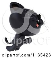 Clipart Of A 3d Black Kitten Leaping Royalty Free CGI Illustration