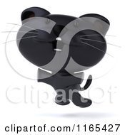 Clipart Of A 3d Black Kitten Jumping Royalty Free CGI Illustration