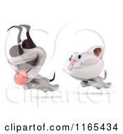 Clipart Of A 3d White Kitten And Jack Russell Terrier Dog Running Royalty Free CGI Illustration by Julos
