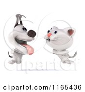 Clipart Of A 3d White Kitten And Jack Russell Terrier Dog Jumping Royalty Free CGI Illustration by Julos