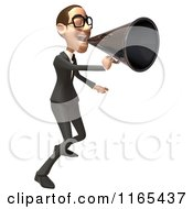 Clipart Of A 3d White Businessman Shouting Through A Megaphone Royalty Free CGI Illustration